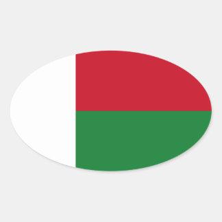 Madagaskar-Flagge Ovaler Aufkleber