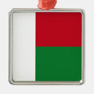 Madagaskar-Flagge Quadratisches Silberfarbenes Ornament