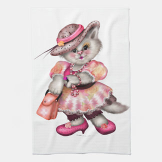 MADAME CAT CARTOON Leinen mit Tonware Handtuch
