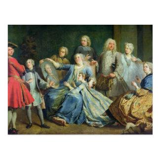 Madame Mercier Surrounded durch ihre Familie, 1731 Postkarte