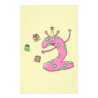 Mädchen-2. Geburtstags-Cartoon im Rosa 14 X 21,6 Cm Flyer