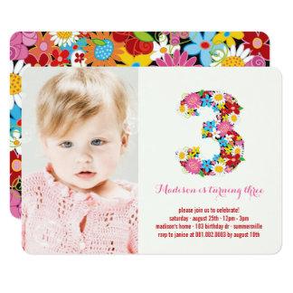 Mädchen-3. Geburtstag Frühlings-Blumenchic-drei Karte