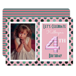 Mädchen-4. Geburtstags-Party Einladung