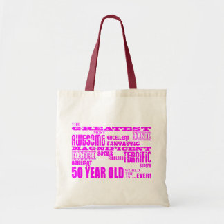 Mädchen-50. Geburtstags-Rosa: Bestste fünfzig Budget Stoffbeutel