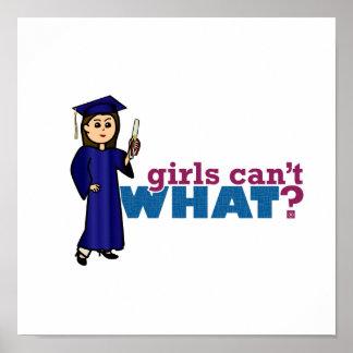 Mädchen-Abschluss im blauen Kleid Plakat