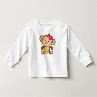 Mädchen-Affe mit Banane Kleinkinder T-shirt