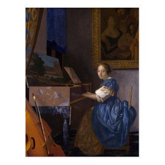 Mädchen am Klavier Postkarte