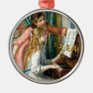 Mädchen am Klavier Rundes Silberfarbenes Ornament