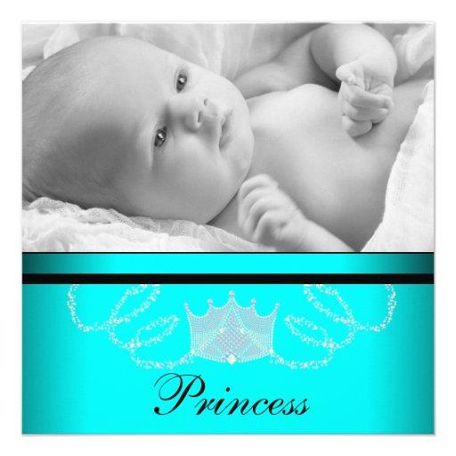 Mädchen-aquamarine blaue Prinzessin Birth Announce Individuelle Ankündigungskarte
