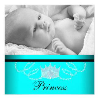 Mädchen-aquamarine blaue Prinzessin Birth Individuelle Ankündigungskarte