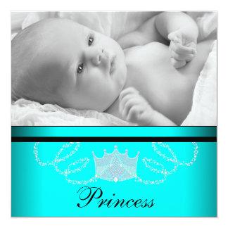 Mädchen-aquamarine blaue Prinzessin Birth Quadratische 13,3 Cm Einladungskarte