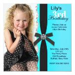 Mädchen-aquamarines blaues Foto-Geburtstags-Party Personalisierte Ankündigungskarte