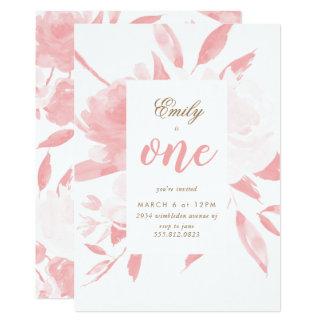 Mädchen-Aquarell-Rosa-erste Geburtstags-Einladung Karte