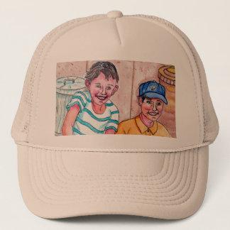 Mädchen auf dem Stoop, der diese Jungen - Hut Truckerkappe