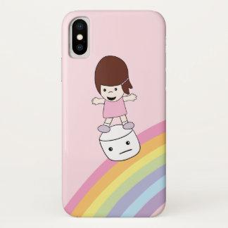 Mädchen auf Eibisch iPhone X des Regenbogen-w Fall iPhone X Hülle