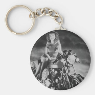Mädchen auf einem Motorrad Schlüsselanhänger
