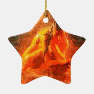 Mädchen auf Feuer - leidenschaftliche Feuer-Kunst Keramik Ornament