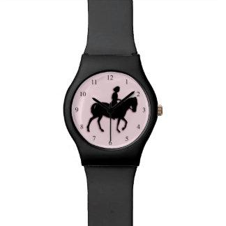 Mädchen auf Pferde-/Pony-Rosa Uhren