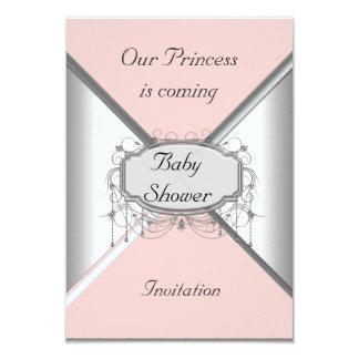 Mädchen-Baby-Duschen-Party-Rosa-Silber-Einladung 8,9 X 12,7 Cm Einladungskarte