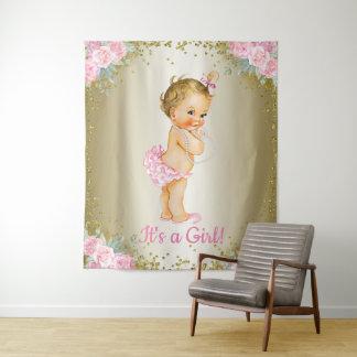 Mädchen-Babyparty-Fahnen-Hintergrund Wandteppich