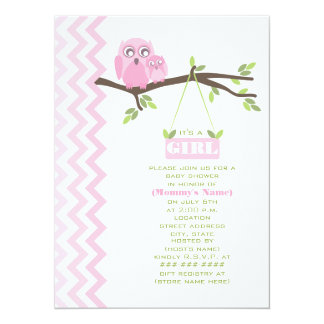 Mädchen-Babyparty-Rosa-Mutter u. Baby-Eule Ankündigungskarten
