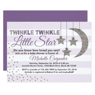 Mädchen-Babypartyeinladungs-Funkeln-kleiner Stern Karte