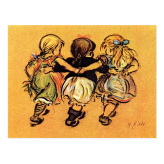 # Mädchen - beste Freunde - Zille Postkarte