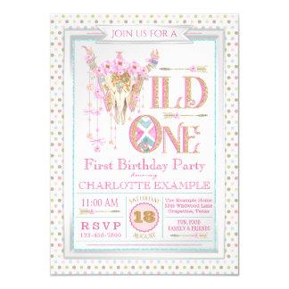 Mädchen Boho wilde erste Geburtstags-Einladungen Karte