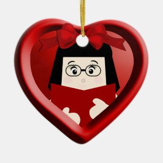 Mädchen-Buch-Liebhaber scherzt Herz-Verzierung 2 Keramik Herz-Ornament