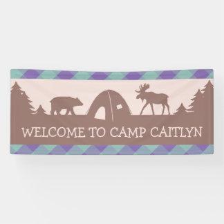 Mädchen-Campingsgeburtstags-Party-Willkommensfahne Banner
