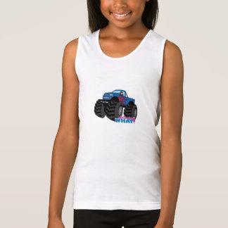 Mädchen, das blauen Monster-LKW fährt Tank Top