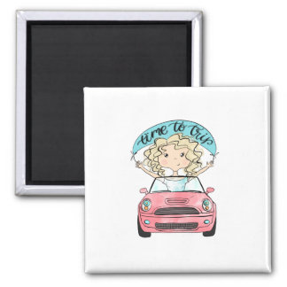 Mädchen, das ein Auto fährt Quadratischer Magnet