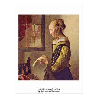 Mädchen, das einen Brief durch Johannes Vermeer Postkarte