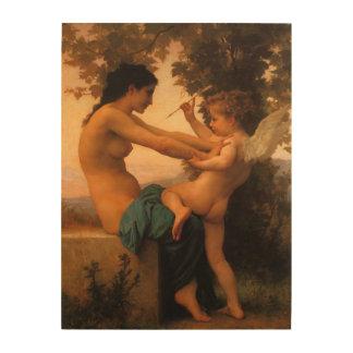 Mädchen, das gegen Amor durch Bouguereau sich Holzwanddeko