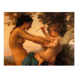 Mädchen, das gegen Amor durch Bouguereau sich Postkarte