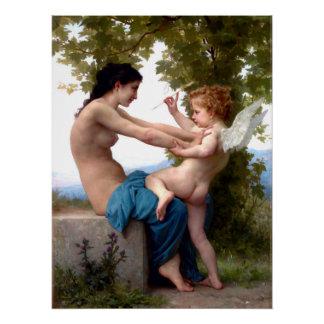 Mädchen, das gegen Eros-Amor-Malerei sich Poster
