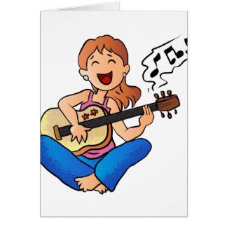 Mädchen, das Gitarre spielt Karte