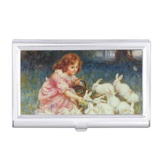 Mädchen, das Kaninchen füttert Visitenkarten Etui