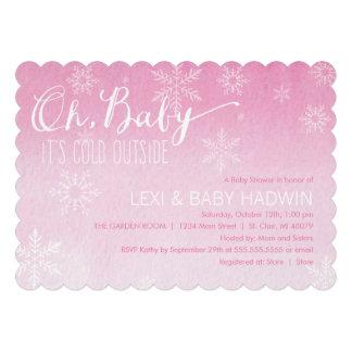 Mädchen der Aquarell-Winter-Babyparty-Einladungs-| Ankündigungskarten