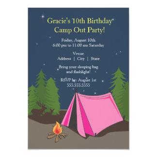 Mädchen des Campings-Geburtstags-Party-| 12,7 X 17,8 Cm Einladungskarte