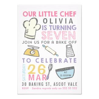 Mu0026#228;dchen, Die 7. Geburtstags Einladung Kochend Karte