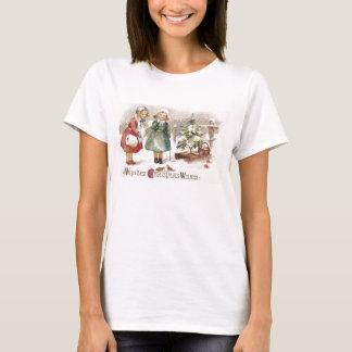 Mädchen, die Vögel und Schlitten mit dem Baum T-Shirt