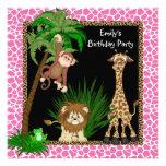 Mädchen-Dschungel-Safari-Geburtstags-Party Einladung