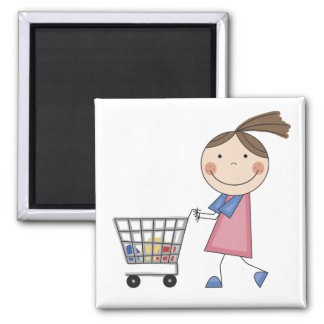 Mädchen-Einkaufst-shirts und -geschenke Quadratischer Magnet