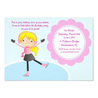 Mädchen-Eis-Skaten-Rosa-Geburtstags-Einladung Karte