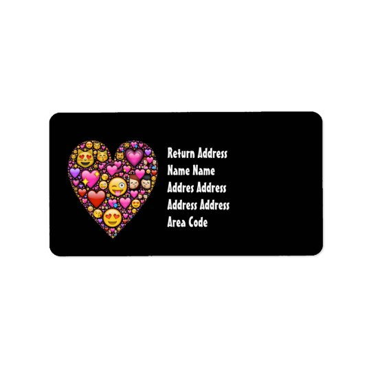Mädchen Emoji rosa schwarze personalisierte Adressaufkleber