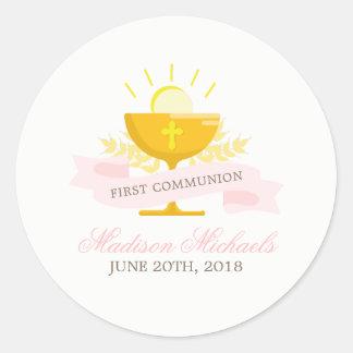 Mädchen-erste heilige Kommunion Runder Aufkleber