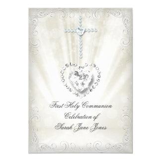 Mädchen-erste heilige Kommunion weiße beige 12,7 X 17,8 Cm Einladungskarte
