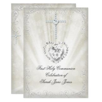 Mädchen-erste heilige Kommunion weiße beige Karte