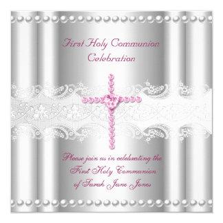 Mädchen-erste heilige quadratische 13,3 cm einladungskarte